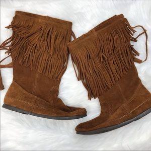 Minnetonka Suede Double Fringe Boots